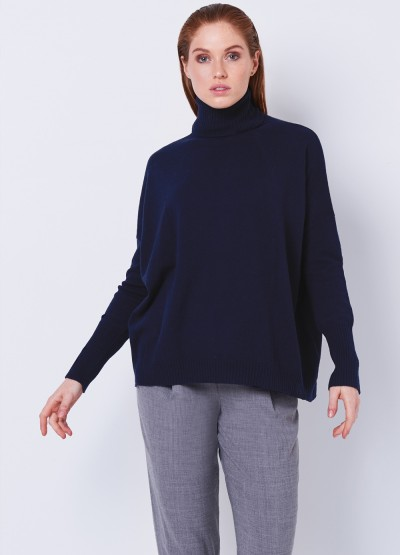Oversized soft polo neck pullover - Navy