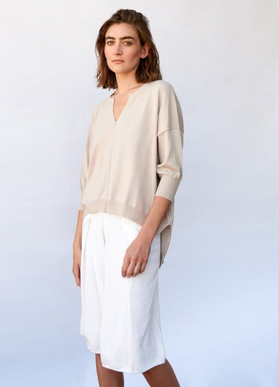 Split- V neck swing top - Stone
