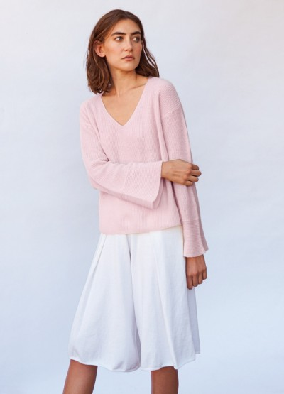 Sorrento bell sleeve cashmere top - Cherry blossom - 10% Off